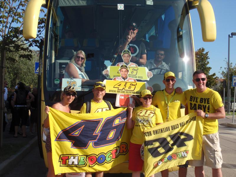 Happy Rossi fans on the coach home (spot the odd man out...)