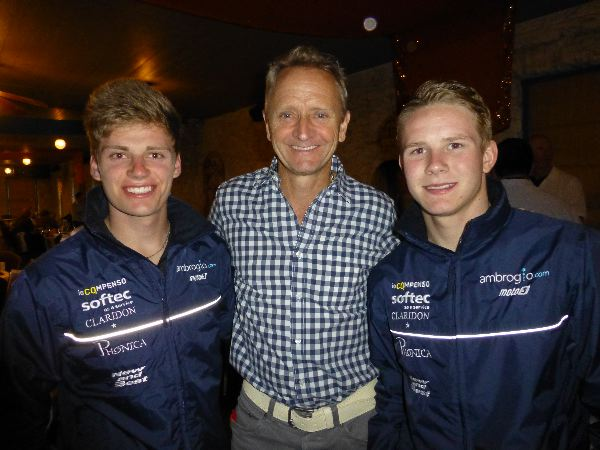 Our star guest speaker, Kevin Schwantz, with our sponsored riders Brad Binder and Danny Webb