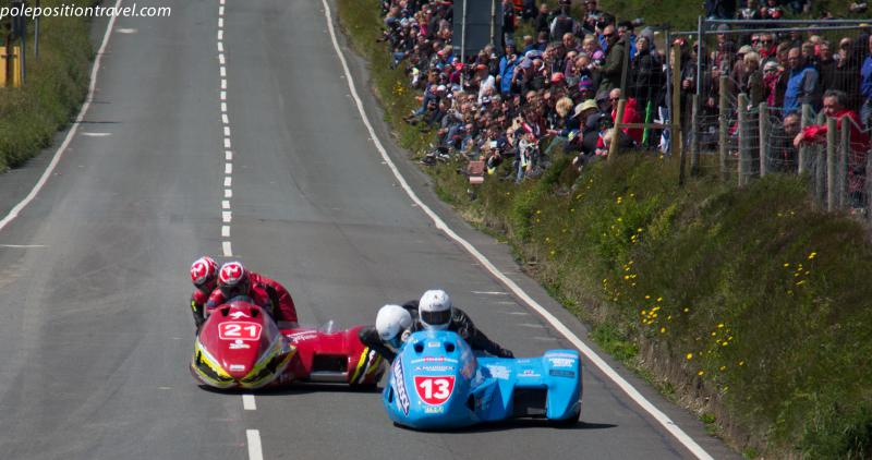 Spectacular sidecar racing as viewed from the famous Creg-ny-baa