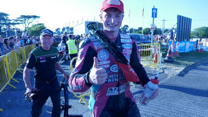 James Cowton and his dad after winning the 1000 race