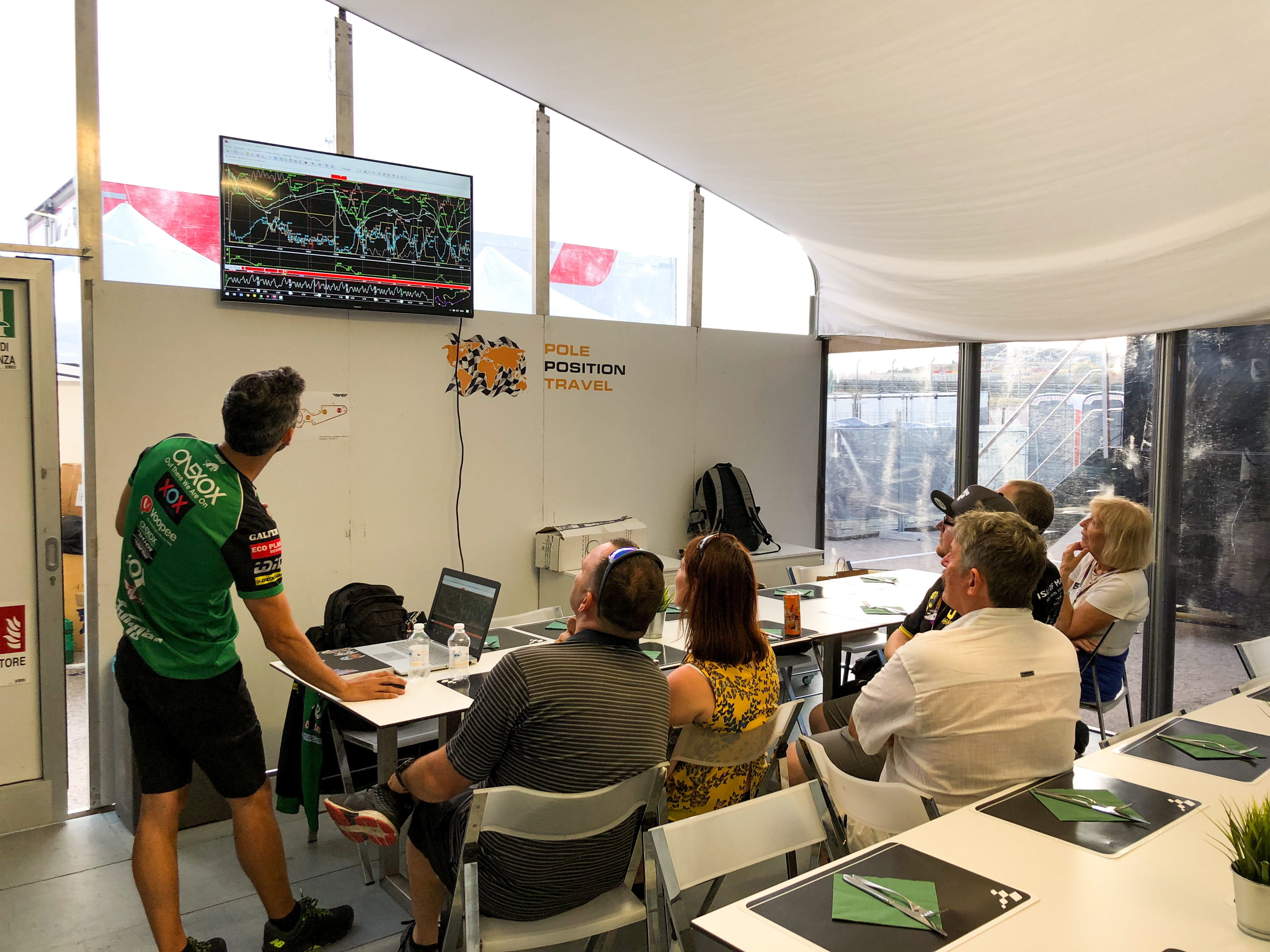 Talk from chief mechanic of Moto2 team showing us how to read the telemetry data