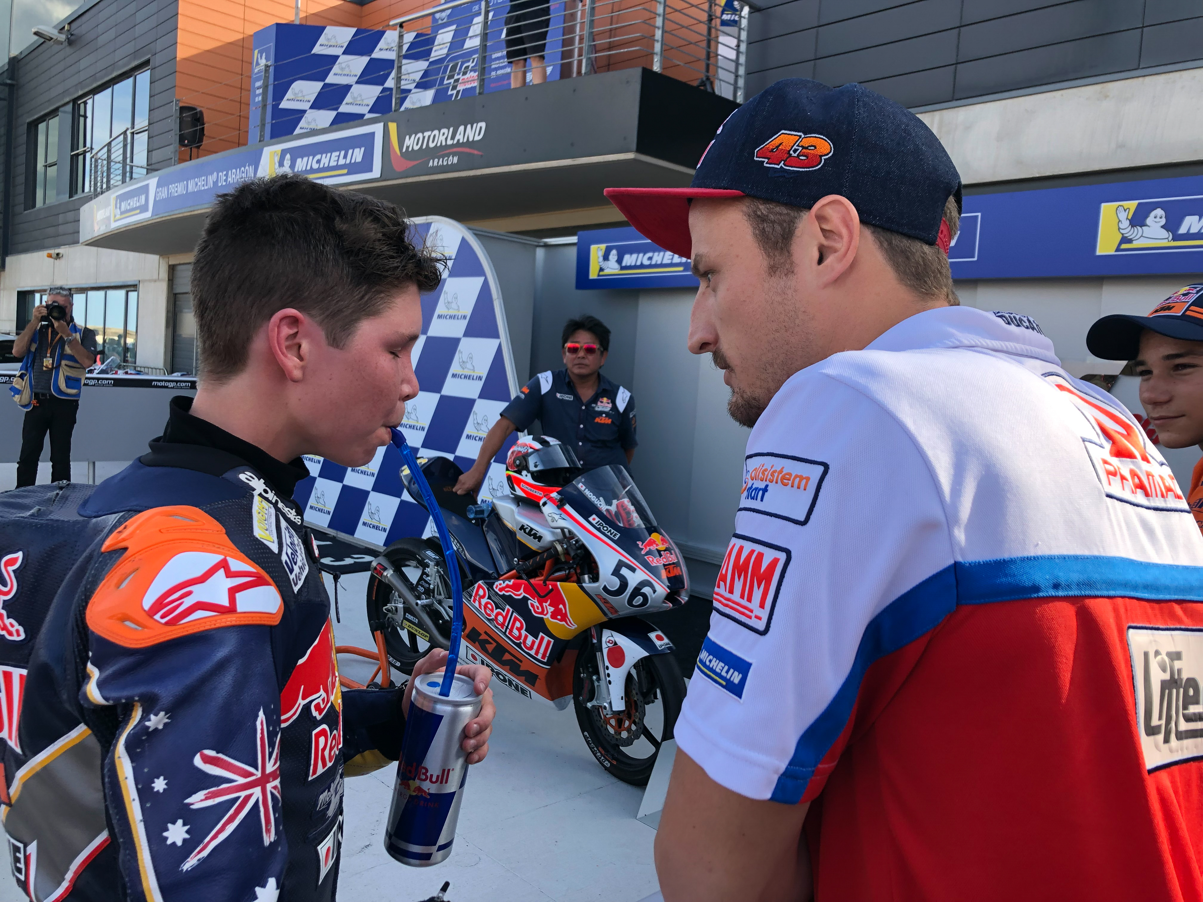 Our sponsored rider Billy van Eerde gets advice from his mentor Jack Miller