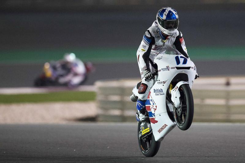 John McPhee wheelie after the race in Qatar 2017