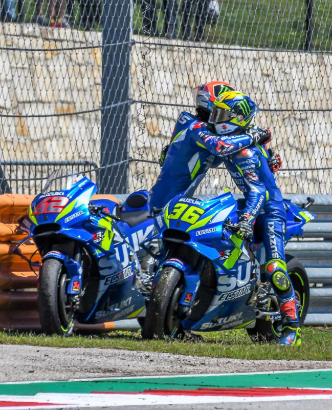 Riders Joan Mir and Alex Rins celebrate Alex's sensational victory in Texas 2019