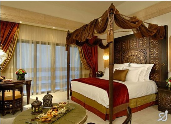 Grand bedroom of the Sharq Village Hotel