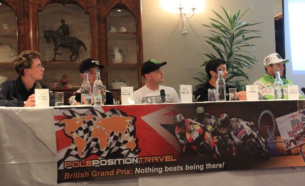2014 guests: From left: Bradley Ray, John McPhee, Sam Lowes, Gino Rea, Scott Redding (out of photo: Danny Webb, Niall MacKenzie). Arriving later: Brad Binder, Maria Costello