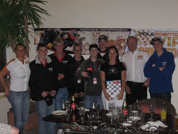 riders at our Donington party (l to r): Hana (Pole Position staff), Paul Jordan (wildcard), Martin Glossop (wildcard), Matt Hoyle, Danny Webb, Deane Brown (rookie), customer Eugenie, Gordon Howell (PPT), Scott Redding