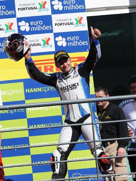 Leon Haslam on podium at Portimao