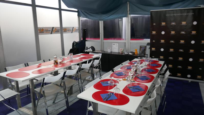 We have a private space shared with our partner Moto2 team SAG Racing. We can normally accommodate 20 at one lunch sitting, although in Silverstone this space is doubled.