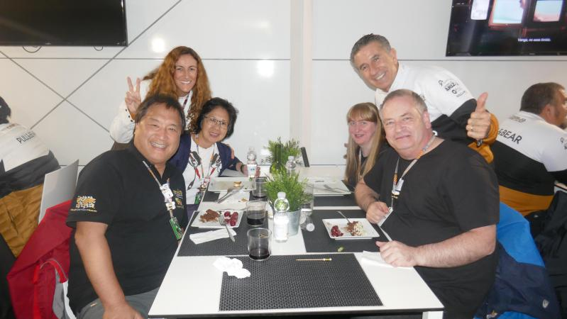 Jorge 'Aspar' Martinez with Pole Position guests in their MotoGP-quality hospitality
