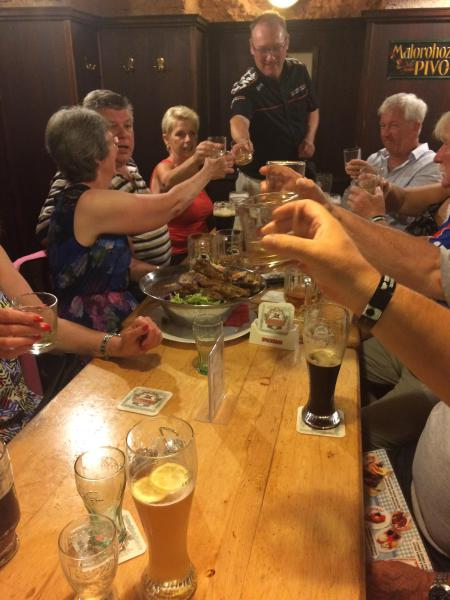 Managing director Gordon toasts one of the tables....