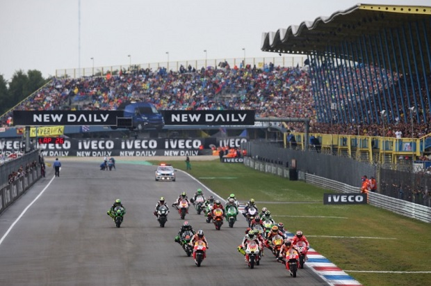 The Assen MotoGP start/finish straight looking down to the final hairpin corner.