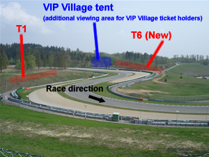 T1 and new T6 stand locations, and new alternate VIP tent
